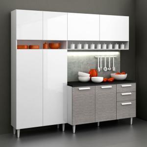 Cozinha Compacta Class Glamy 3 Peças Branco e Carvalho Prata Madesa - R$ 269,99