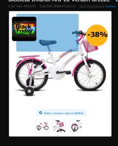 Bicicleta Infantil Aro 16 Verden Breeze - Branco e Pink  244,00