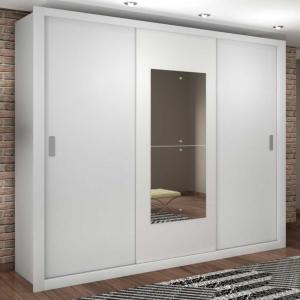 Guarda-Roupa Casal Veneza Premium com Espelho 3PT 4GV Branco