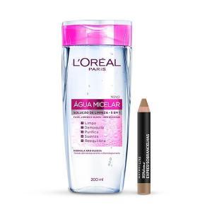 Água Micelar L'Oréal Paris Expertise 5 em 1 + Lápis de Sobrancelha Maybelline Brow Drama Express R$30