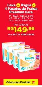 Leve Mais e Pague Menos: 4 Pacotes de Fralda Pampers Premium Care M - Total de 192 unidades - R$150