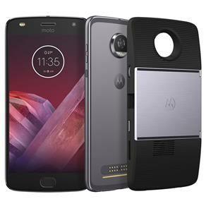 Smartphone Motorola Moto Z2 Play Projector Edition Platinum 64GB, Tela 5.5'', Dual Chip, Câmera 12MP, Android 7.1, Processador Octa-Core e 4GB de RAM