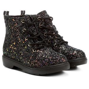 Bota Infantil Coturno Molekinha Glitter - Preto - R$35,90