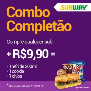 [PR, SC, SP] Combo Completão - Complemente seu Subway com 1 refri de 300 ml ou água mineral 500 ml + 2 acompanhamentos (Cookie, Chips, maçã ou Brownie) por R$10