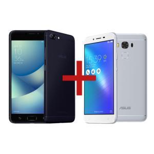 "ZenFone 4 Max 3GB/32GB Preto + Zenfone 3 Max 5,5"" 2GB/32GB Prata  Tela:5,5"" HD IPS Câmera:Dual: 13MP + 5MP / 8 MP Memória:32 GB / 3 GB Conectividade:4G  R$1.318"