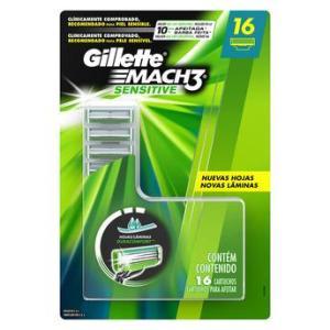 Refil Lâmina Gillette Mach3 Sensitive 16 Unidades - R$ 49,99