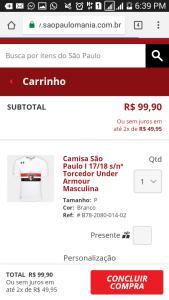 Camisa oficial do São Paulo era 250 ta 100