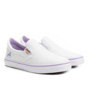 Tênis Couro Polo Royal Leather Feminino - Branco e Lilás R$75
