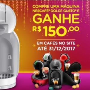 Compre e cadastre uma máquina NESCAFÉ® Dolce Gusto® e ganhe R$150,00 em cafés no site.