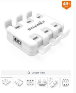 Carregador BlitzWolf® BW-S4 Smart 6-Port High Speed Desktop USB Charger For iPhone iPad Samsung 50W - R$68