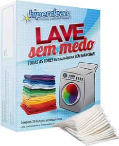Lenços Anti Manchas Lave Sem Medo HIPERCLEAN com 20 Unidades - R$ 4,99