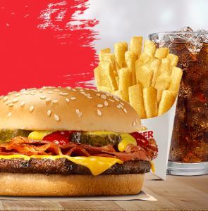 Combo Cheeseburger Bacon com Batata Pequena no Burger King - R$15