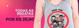 Todas as regatas femininas Nerd Universe por R$29,90