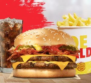 Combo Cheeseburger Duplo Bacon com Balde de Batata e refrigerante no Burger King - R$20