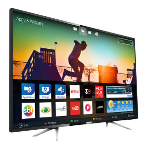 """Smart TV LED 55"""" Philips 55PUG6102/78 Ultra HD 4K 4 HDMI 2 USB Preta com Conversor Digital Integrado - R$ 2999"""