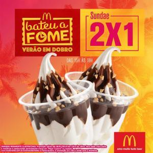 McDonald's Bateu a Fome (das 15h às 18h) - 2 Sundae pelo preço de 1