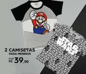 2 camisetas infantis por R$39,90