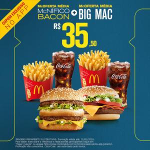 McOferta Média McNífico Bacon + McOferta Média Big Mac no McDonald's - R$35,50