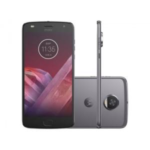 "Smartphone Motorola Moto Z2 Play 64GB Platinum - Dual Chip 4G Câm. 12MP + Selfie 5MP Tela 5.5"" - R$1424,05"