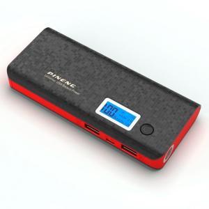 Carregador Portátil Power Bank Pineng 10000mah Preto e Vermelho USB Lanterna PN968 - R$49,99