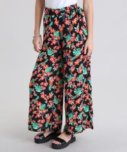 Calça Pantalona Estampada Floral R$60