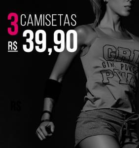 3 Camisetas Fitness por R$39,90