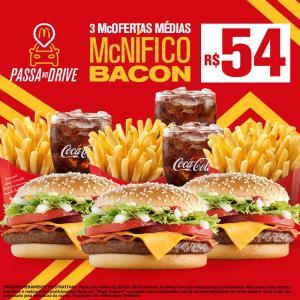 McDonald's Passa no Drive - 3 McOfertas Médias McNífico Bacon - R$54