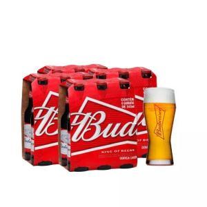 Kit Budweiser com 4 Packs de 6 unidades 343 ml + copo 400 ml grátis - R$ 46