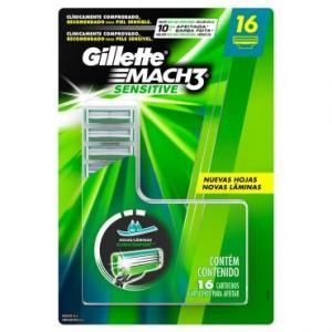 16 Cargas Gillette Mach3 Sensitive - R$45