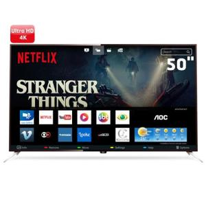 "Smart TV LED 50"" UHD 4K AOC LE50U7970 com Wi-Fi, Miracast, App Gallery, Botão Netflix, Digital Noise Reduction, HDMI e USB - R$2374"