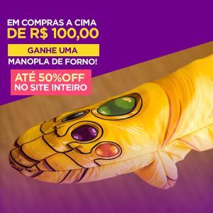 50% OFF no site Nerd universe + nas compras acima de R$100 ganhe uma Manopla de Forno