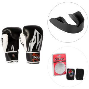 Kit Luva de Boxe Naja Extreme 14OZ + Protetor Bucal Naja + Bandagem Elástica Naja 3M - Preto