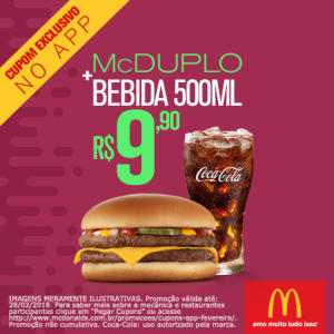 McDuplo + Bebida 500ml no McDonald's - R$10