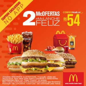 Combo família: 2 McOfertas + McLanche Feliz no McDonald's - R$54