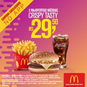 2 McOfertas médias Crispy Tasty no McDonald's - R$29,50