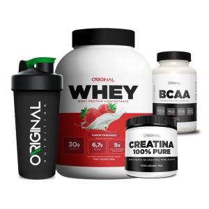 Kit Whey Protein + Bcaa + Creatina + Copo - Original Nutrition - Morango - R$ 129