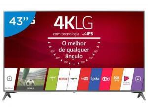 "Smart TV LED 43"" LG 4K/Ultra HD 43UJ6565 webOS-Conversor Digital 2 USB 4 HDMI - R$1899,00"