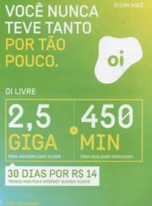 Pré Pago OI: R$ 14/ mês por 2,5GB de 4G + 450 minutos p/ qualquer operadora *(somente p/ alguns DDDs)