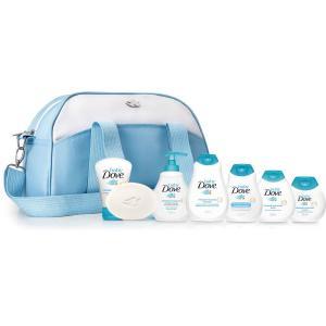kit Dove Baby Bolsa Maternidade Azul + Trocador + 7 Produtos - R$80