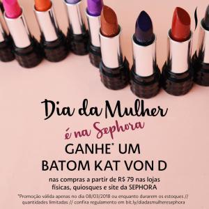 Compre R$79 na Sephora e ganhe um batom Kat Von D