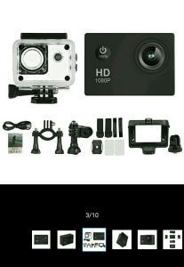 """Câmera de Ação Esportiva 12 MP HD 1080p 2"""" LCD - Preta - €13,27"""
