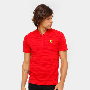 Camiseta Pólo Puma Scuderia Ferrari AOP Masculina - Vermelho