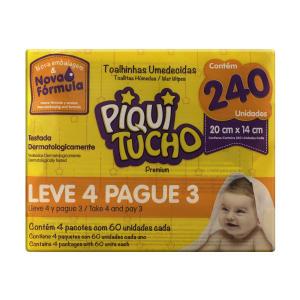 Toalha Umedecida Piquitucho Premium Leve 4 Pague 3 240 lenços 20,99