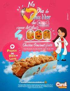 Distribuição gratuita de churros na Rede Carol Coxinhas