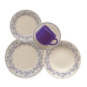 Aparelho de Jantar e Chá em Cerâmica 20 peças Dona - Biona  (Várias opções de cores) - R$89.90
