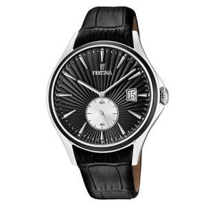Relógio festina masculino couro preto - f16980/4 - R$442