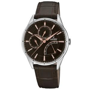 Relógio festina masculino couro marrom - f16974/3 - R$472