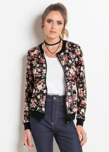 Jaqueta Bomber Preta e Floral - R$ 40