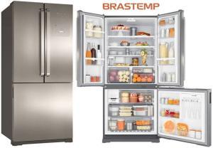 Geladeira Brastemp Frost Free Side Inverse 540 litros cor Inox com Ice Maker - BRO80AK R$3.799,00