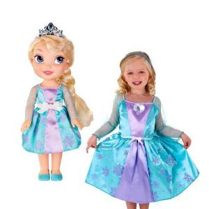 Kit Boneca + Vestido Fantasia Elsa Frozen Roupa Infantil Menina Disney R$84